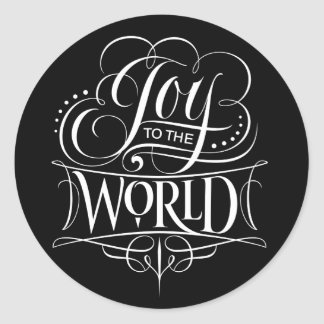 Fancy Swirly Joy Christmas Calligraphy Lettering Classic Round Sticker