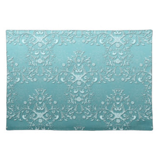 Fancy Teal Aqua Turquoise and White Damask Placemats
