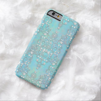 Fancy Teal Blue and Aquamarine Lacy Damask Floral Barely There iPhone 6 Case