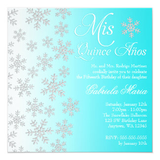 "Fancy Teal Snowflake Winter Wonderland Quinceanera 5.25"" Square Invitation Card"