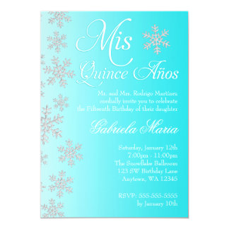 "Fancy Teal Snowflake Winter Wonderland Quinceanera 5"" X 7"" Invitation Card"