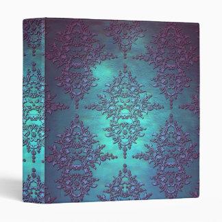 Fancy Teal to Purple Damask Pattern Binders