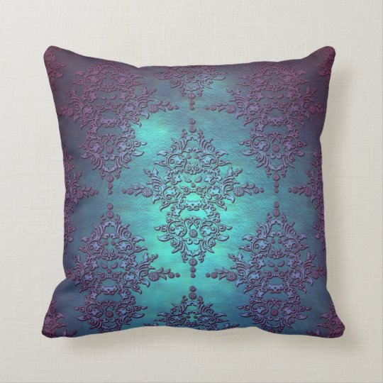 Fancy Teal To Purple Damask Pattern Throw Pillow Zazzle Ca