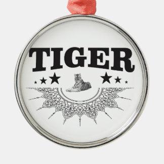 fancy tiger logo metal ornament