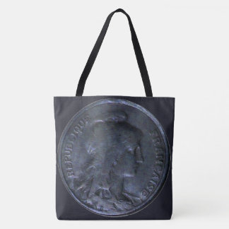 Fancy Tote Bag with Coin - France 10 Centimes 1913