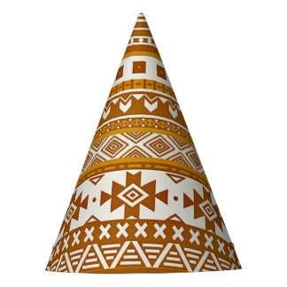 fancy tribal border pattern 08 golden (I) Party Hat