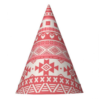 fancy tribal border pattern 08 red (I) Party Hat