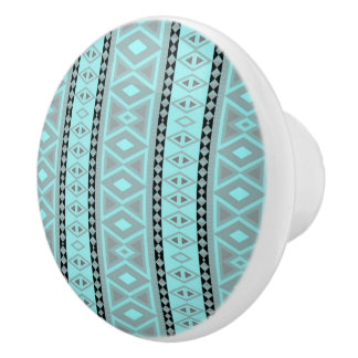 Fancy tribal border pattern ceramic knob