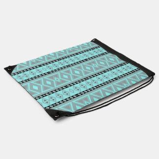 Fancy tribal border pattern drawstring bag