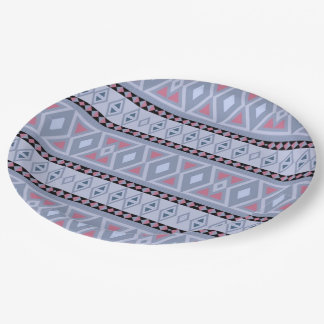 Fancy tribal border pattern paper plate
