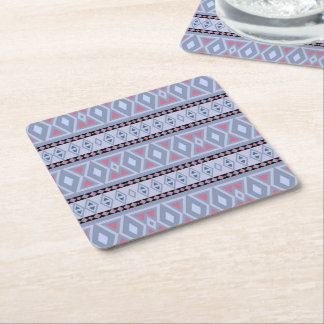 Fancy tribal border pattern square paper coaster