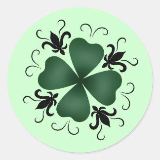 Fancy victorian shamrock St Patricks Day Classic Round Sticker