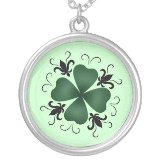 Fancy victorian shamrock St Patricks Day Round Pendant Necklace