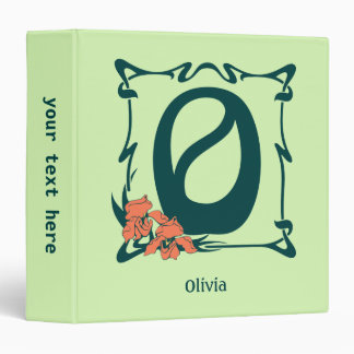 Fancy vintage art nouveau letter O 3 Ring Binders