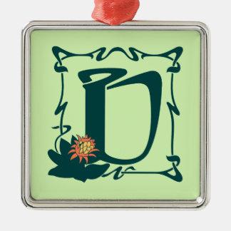Fancy vintage art nouveau letter U Silver-Colored Square Ornament