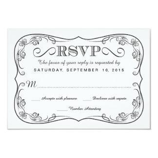Fancy Vintage Chalkboard RSVP Wedding Reply Custom Invitations