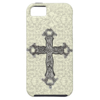 Fancy Vintage Christian Cross on Damask iPhone 5 Case