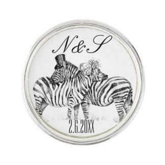 Fancy wedding zebra couple lapel pin