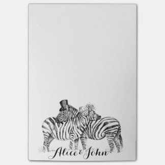 Fancy Wedding zebras ink drawing Post-it® Notes