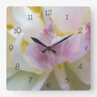 Fancy White and Pink Tulip Square Clock