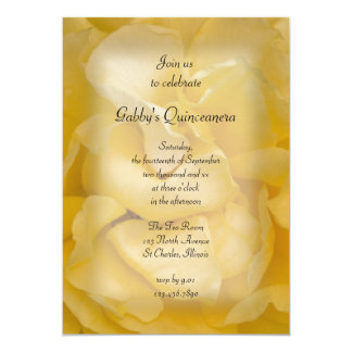 Fancy Yellow Rose Quinceanera Party Invitation
