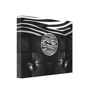 Fancy Zebra Leather Monogram Canvas Print