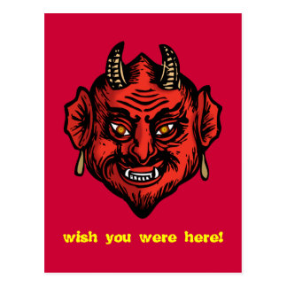 Fanged Red Devil With Horns postcard