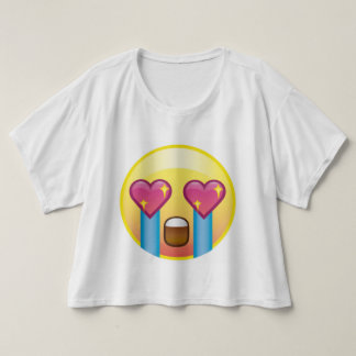 Fangirl Excited Crying Love Happy Emoji Crop Top
