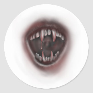 fangs classic round sticker