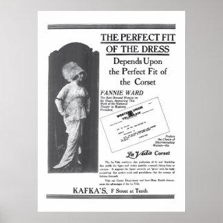 Fannie Ward 1914 vintage garment ad poster