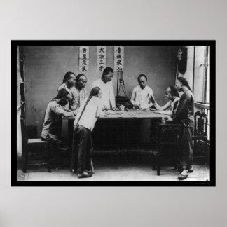 Fantan Gambling in Canton, China 1898 Poster