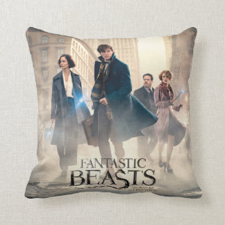 Fantastic Beasts City Fog Poster Throw Pillow