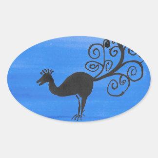 Fantastic Bird Oval Sticker