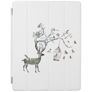 Fantastic Deer with Birds Animal iPad Cover