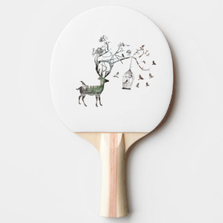 Fantastic Deer with Birds Animal Ping Pong Paddle