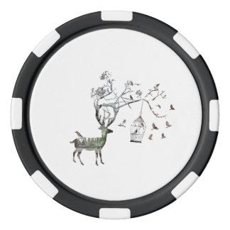Fantastic Deer with Birds Animal Set Of Poker Chips