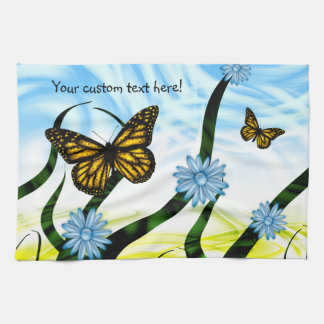 Fantastic Graphic Butterflies Flutter By Collage Kitchen Towel