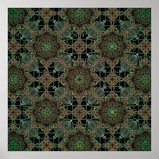 fantastic mandala design green poster