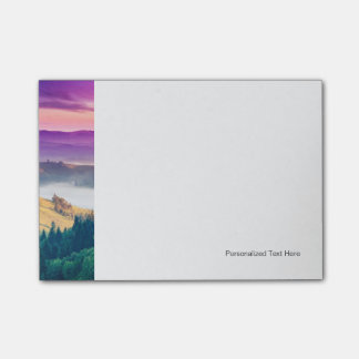 Fantastic Morning Mountain Landscape. Overcast Post-it® Notes