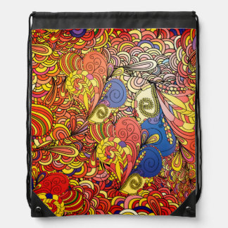 Fantastic pattern Doodle art Drawstring Backpack