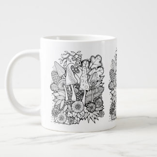 Fantastical Forest Flower Mushrooms Large Coffee Mug