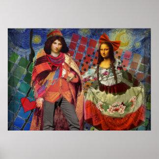 Fantastical Funny Mona Lisa Couple Whimsical Poster