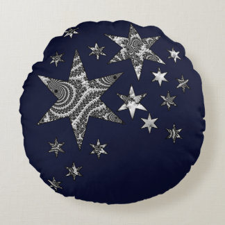 Fantasy 3 D Stars Round Pillow