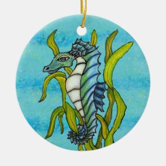 Fantasy Aqua Blue Sea Dragon Seahorse in Seaweed Ceramic Ornament