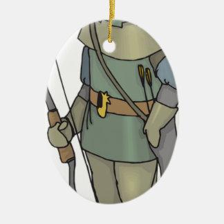 Fantasy Archer Man Bow Arrow Ceramic Ornament