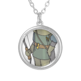 Fantasy Archer Man Bow Arrow Silver Plated Necklace
