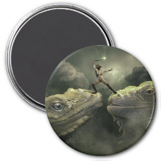 Fantasy Art Dragons and Warrior Woman Magnet