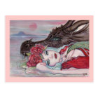 Fantasy art girl with dragon by Renee Lavoie Postcard