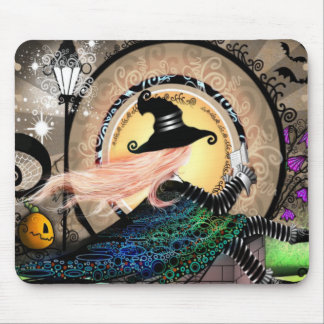 Fantasy art nouveau witch mouse pad