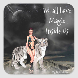 Fantasy Art Woman and White Tiger Art Sticker